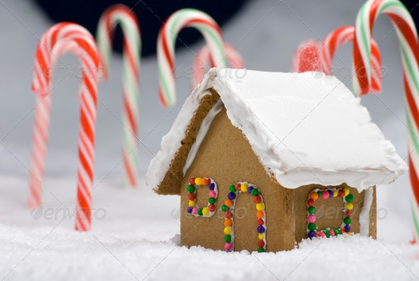 Christmas Gingerbread House Closeup - Stock Photo - Images