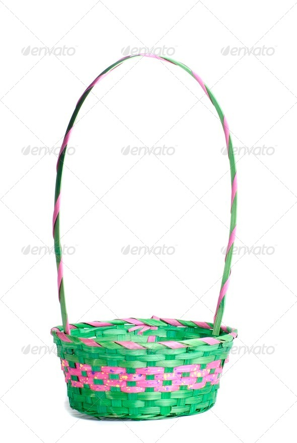 Easter Pink and Green Empty Basket - Stock Photo - Images