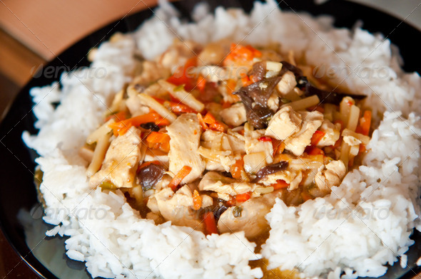 Chinese food chicken with vegetables and rice - Stock Photo - Images