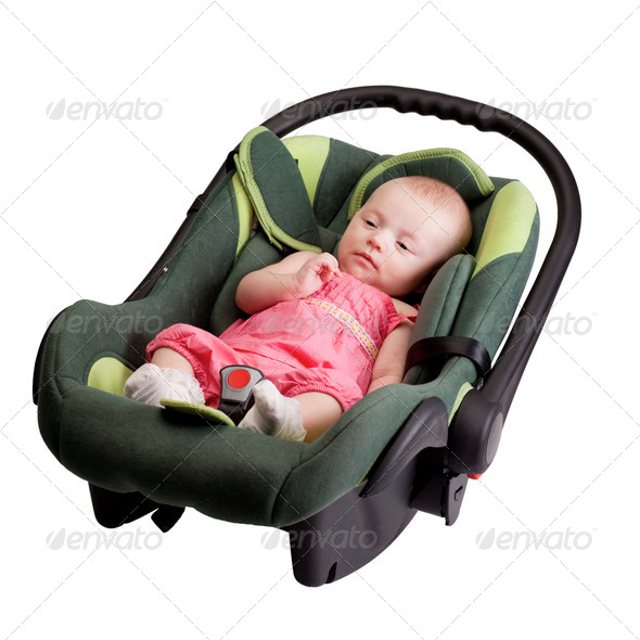 Baby Girl Toddler in Car Seat - Stock Photo - Images