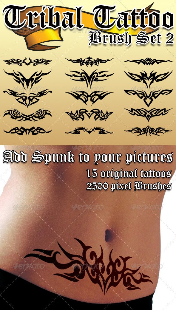 Tribal Tattoo Brush Set 2 GraphicRiver - Add-ons -  Photoshop  Brushes  Flourishes 865381