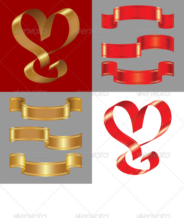 Vector Set of the Shiny Gold and Red Ribbons - Decorative Symbols Decorative