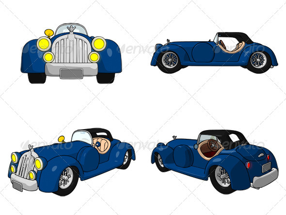Cartoon Convertible - Objects Illustrations