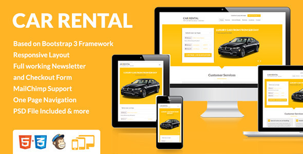 Car Rental Landing Page Themeforest