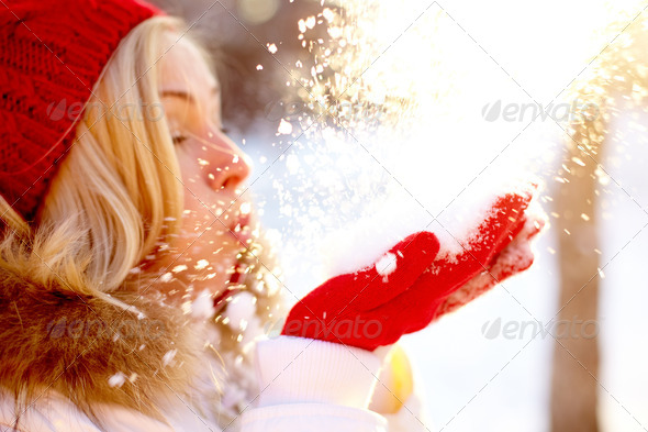 Blowing snow - Stock Photo - Images