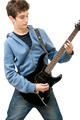Teenager Playing Electric Guitar on White Background - PhotoDune Item for Sale