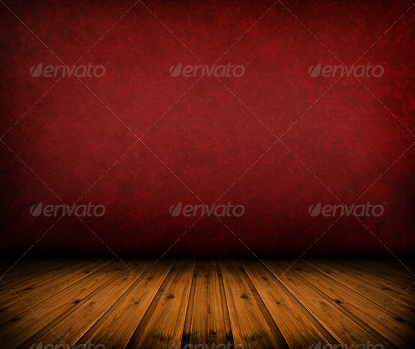 Dark vintage red room with wooden floor - Stock Photo - Images