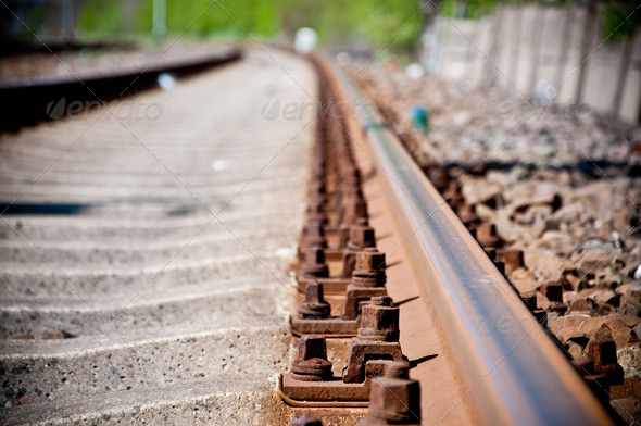 railway track lines - Stock Photo - Images