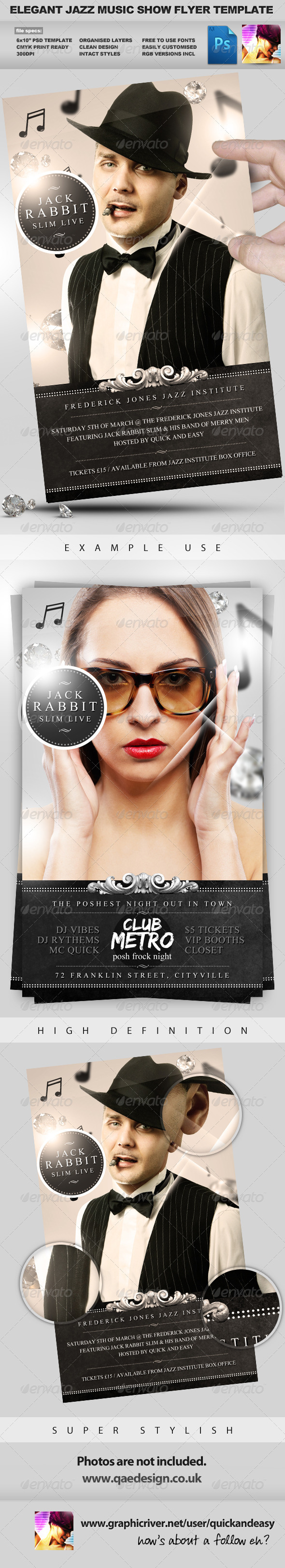 Jazz Music Event PSD Flyer Template - Clubs & Parties Events
