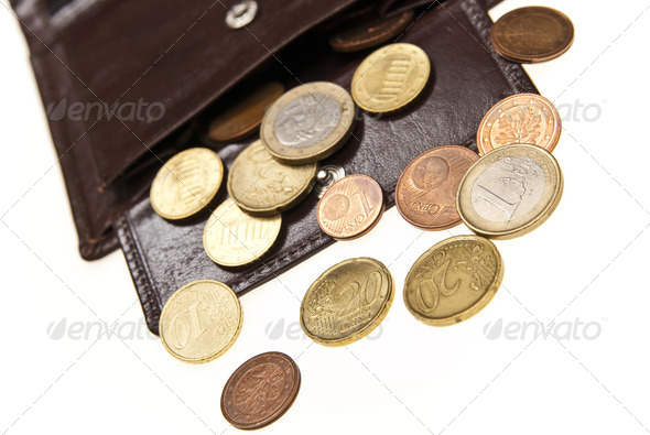 brown leather wallet and coins - Stock Photo - Images