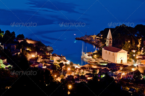 Veli losinj aerial view at evening - Stock Photo - Images