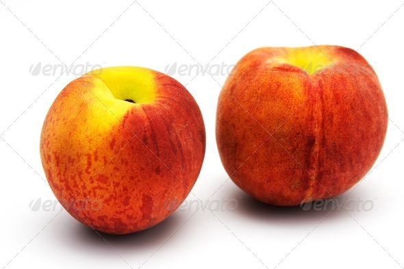 Two tasty juicy peaches - Stock Photo - Images