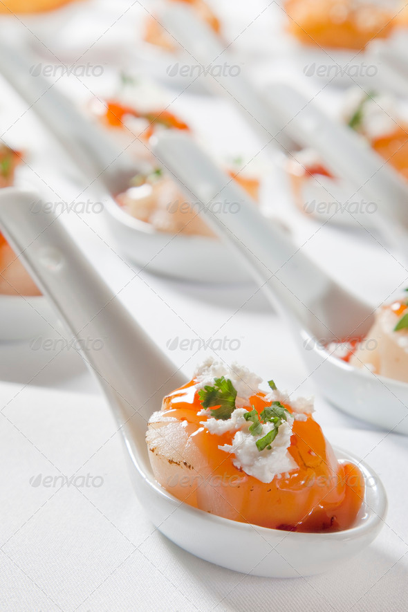 scallops served on spoon - Stock Photo - Images