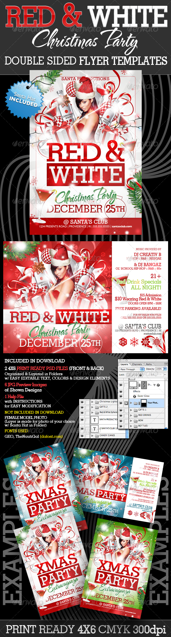 Graphic River Red and White Christmas Party Flyer Templates Print Templates -  Flyers  Events  Clubs & Parties 890219