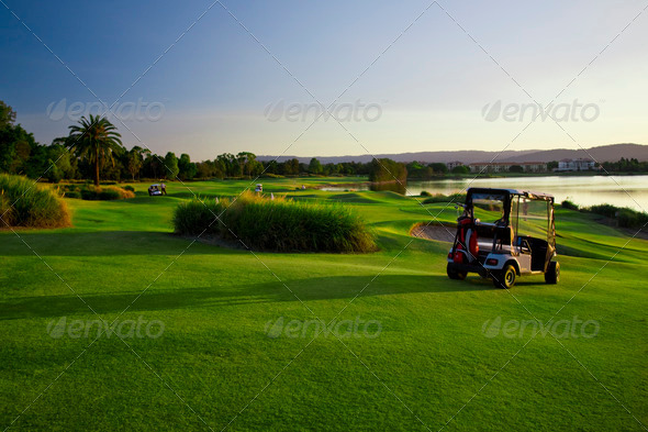 Golf Course and buggies - Stock Photo - Images