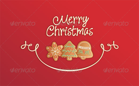GraphicRiver Merry Christmas Cookies Card Red 896714
