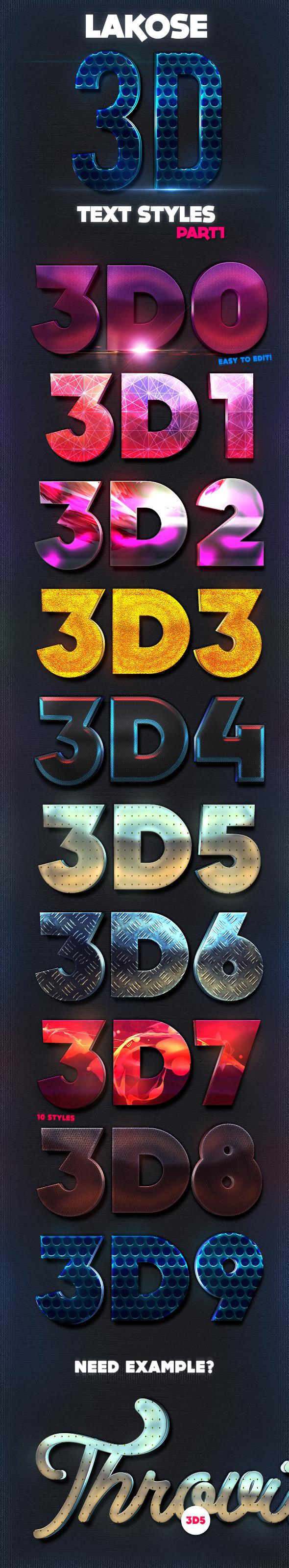 Lakose 3D Text Styles Part 1 - Text Effects Styles