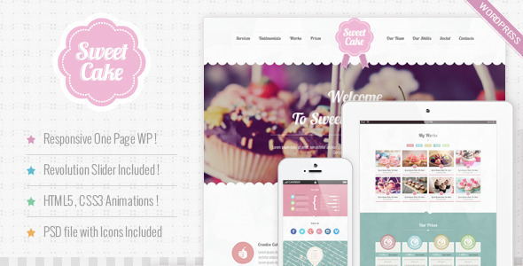 Sweet Cake Responsive Wordpress Theme Themeforest