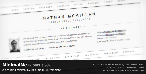 MinimalMe - Minimal HTML CV / Resume Template - MinimalMe by QBKL Studio: A beautiful minimal CV/Resume HTML template