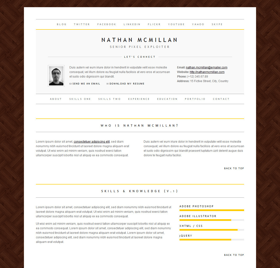 MinimalMe - Minimal HTML CV / Resume Template - Sample color and background image combination.