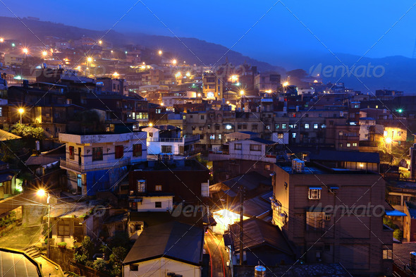 jiu fen village at night, in Taiwan - Stock Photo - Images
