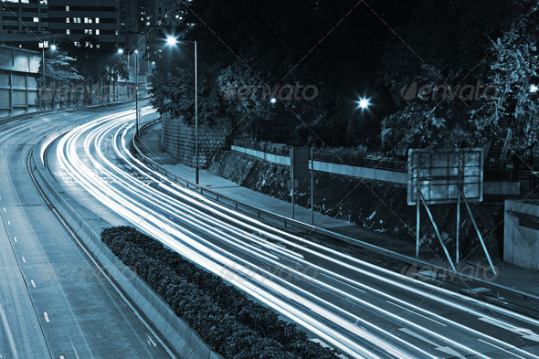 Traffic through the city at night - Stock Photo - Images