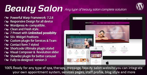 Beauty Salon Responsive Wordpress Template - WordPress