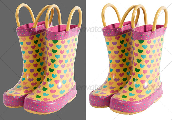 Kids Rubber Boots - Clothes & Accessories Isolated Objects