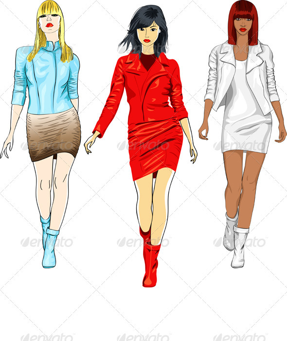 Vector Set of Fashion Girls in the Leather Suits - People Characters