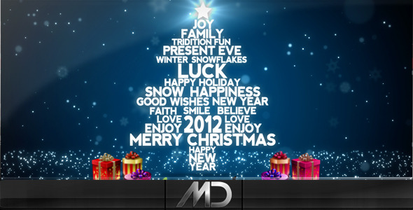 After Effects Project - VideoHive Christmas New Year Flying Words 918559