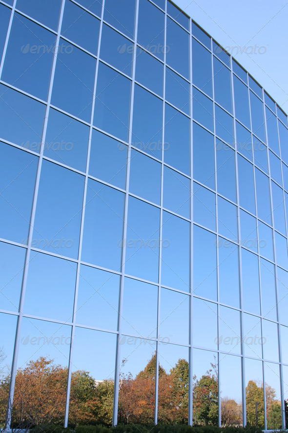 Modern Office Building Glass Wall - Stock Photo - Images
