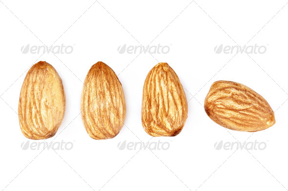 isolated almonds - Stock Photo - Images
