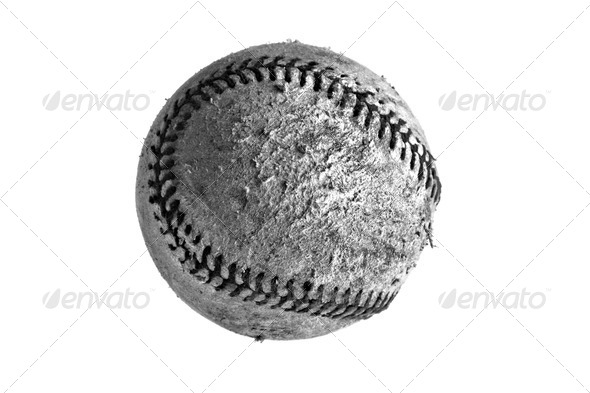 b/w weathered baseball - Stock Photo - Images