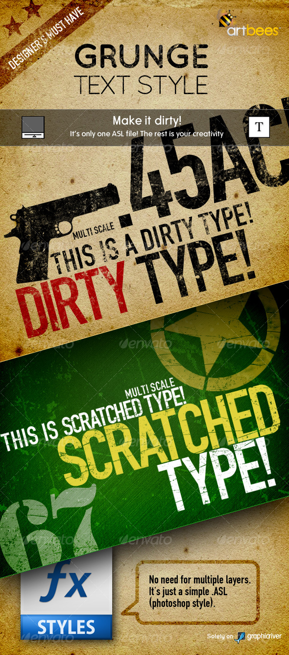 Artbees Grungy Text Styles - Dirty & Scratched - Text Effects Styles