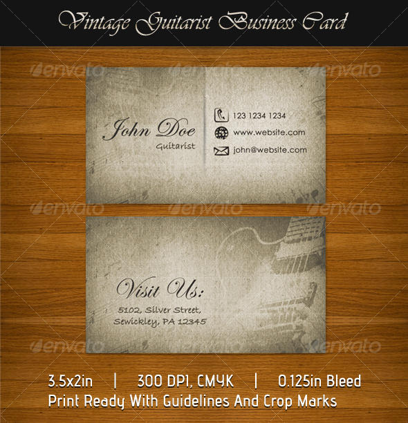 Vintage Guitarist Business Card - Retro/Vintage Business Cards