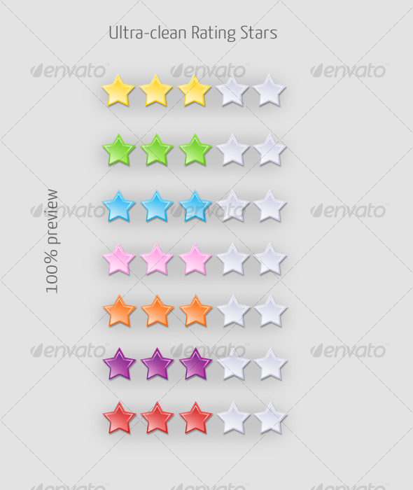Ultra-clean Web 2.0 Rating Stars (7 colors) - Miscellaneous Web Elements