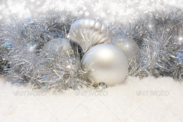 Silver Christmas decorations - Stock Photo - Images