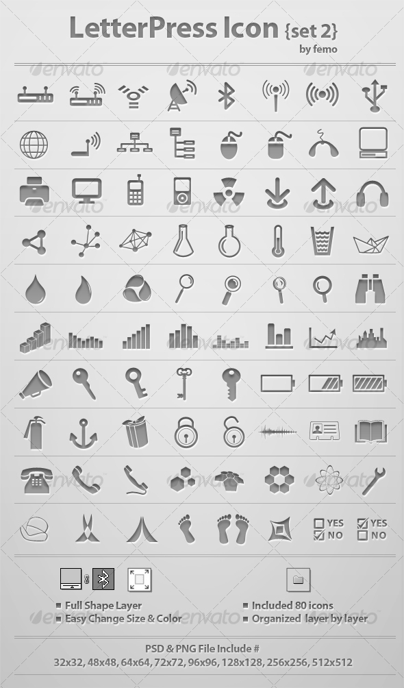 Letterpress Icon {Set 2} - Web Icons