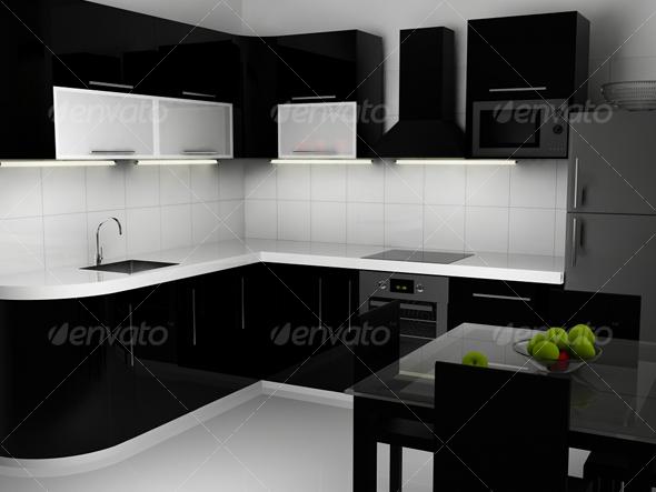3DOcean Black and white kitchen interior 117930