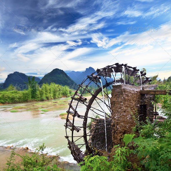 Bamboo water wheel - Stock Photo - Images