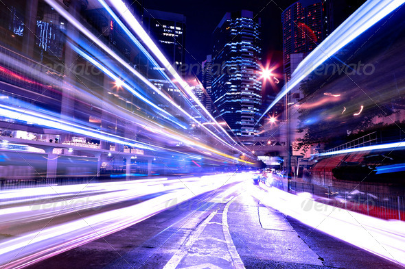 modern city at night - Stock Photo - Images