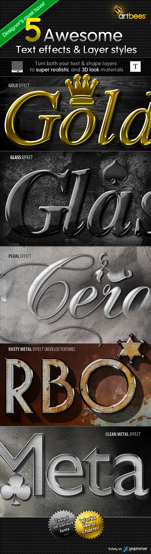 5 Awesome Text effects & Layer Styles - Photoshop Add-ons