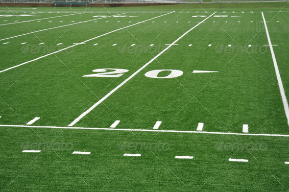 Twenty Yard Line on American Football Field - Stock Photo - Images