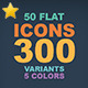 50 Flat Icons -Graphicriver中文最全的素材分享平台