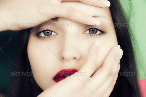 young woman with  passionate sight - Stock Photo - Images