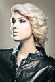 Beautiful young blond fashion model with leather jacket - PhotoDune Item for Sale