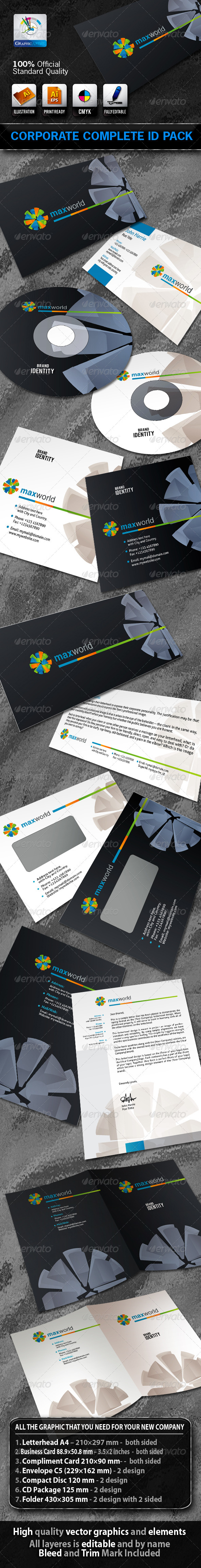 MaxWorld Business Corporate ID Pack With Logo - Stationery Print Templates