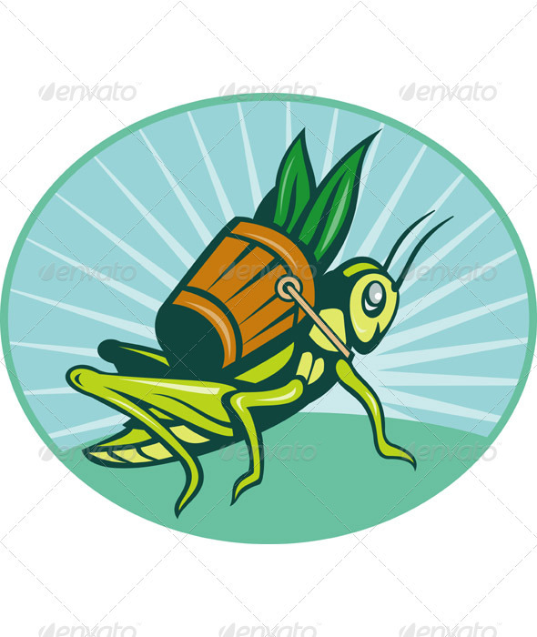 Graphic River Grasshopper Carrying Basket Of Grass Blade Vectors -  Characters  Animals 946302