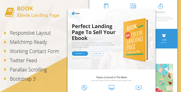 Book - Responsive Ebook Landing Page by Pixininja | ThemeForest
