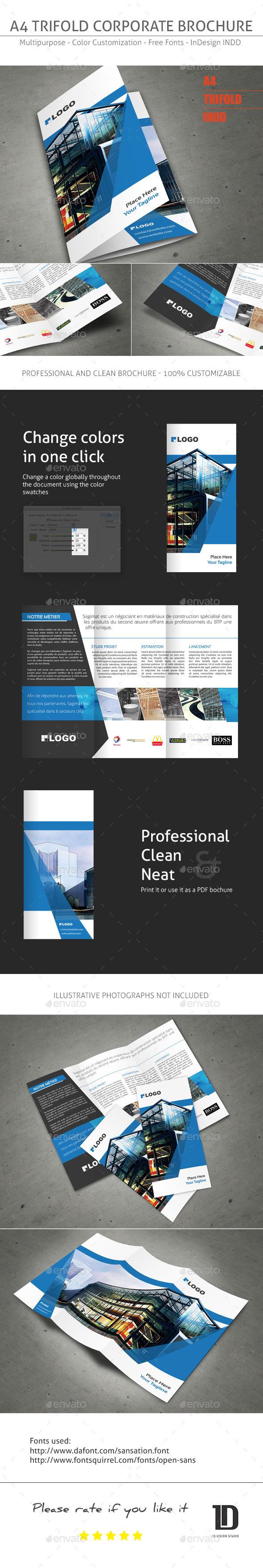 a4 tri fold brochure template .